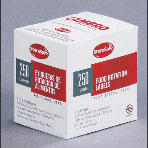 "250 Labels//Roll Cambro 23SLB Dissolvable Label Food Rotation Labels 2/""Wx3/""D"