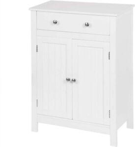 Mobiletto da bagno con ripiano regolabile cassetto stile classico colore bianco