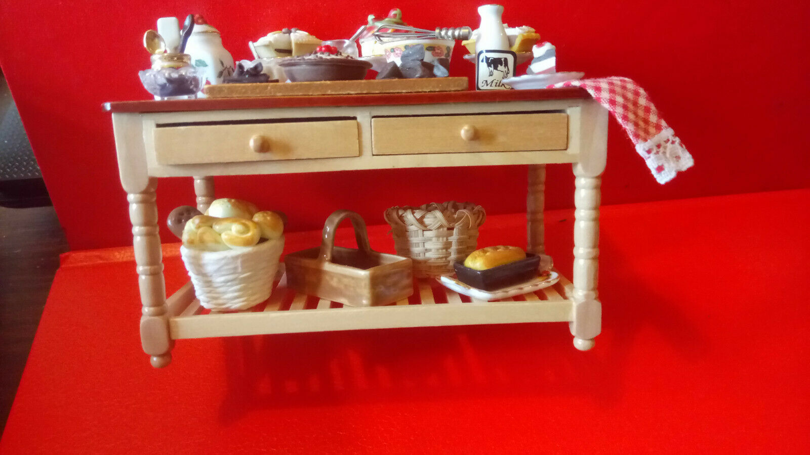 Dolls House accessories Reutters Porcelein, Buffet Table with accessories