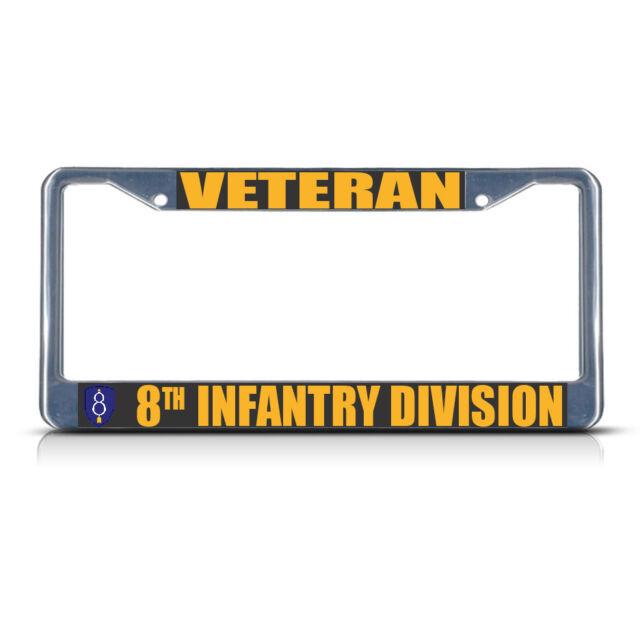 VETERAN INFANTRY MILITARY Chrome Metal Heavy License Plate Frame Tag Border U.S