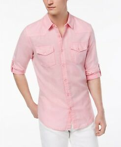 8b06254bc7  195 GUESS Men s SLIM FIT PINK LONG SLEEVE BUTTON TOP LOGO COTTON ...