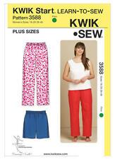 Kwik Sew 3588 Paper Sewing Pattern Women's 1X-4X Learn to Sew Sleep Pants Shorts