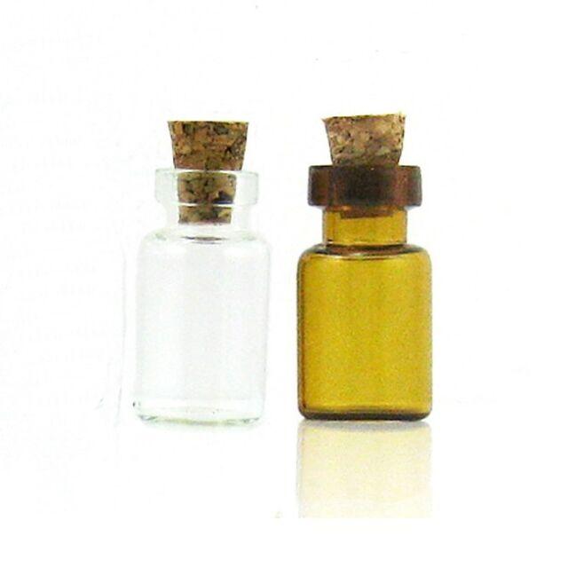 Glass Bottle Vial Cork Wishing Charm Pendant Oil Borosilicate 1ml 132406