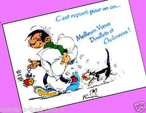 Carte postale rigolote gaston lagaffe meilleurs voeux for Carte de voeux humour