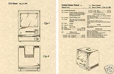 APPLE MACINTOSH US PATENT Art Print READY TO FRAME!! Steve Jobs 1986 Computer