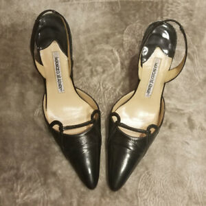 Manolo-Blahnik-Black-Leather-Heels-Size-37
