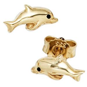 Ohrstecker Delphin Zirkonia weißgold gold Delfin Damen Kinder Mädchen Ohrringe