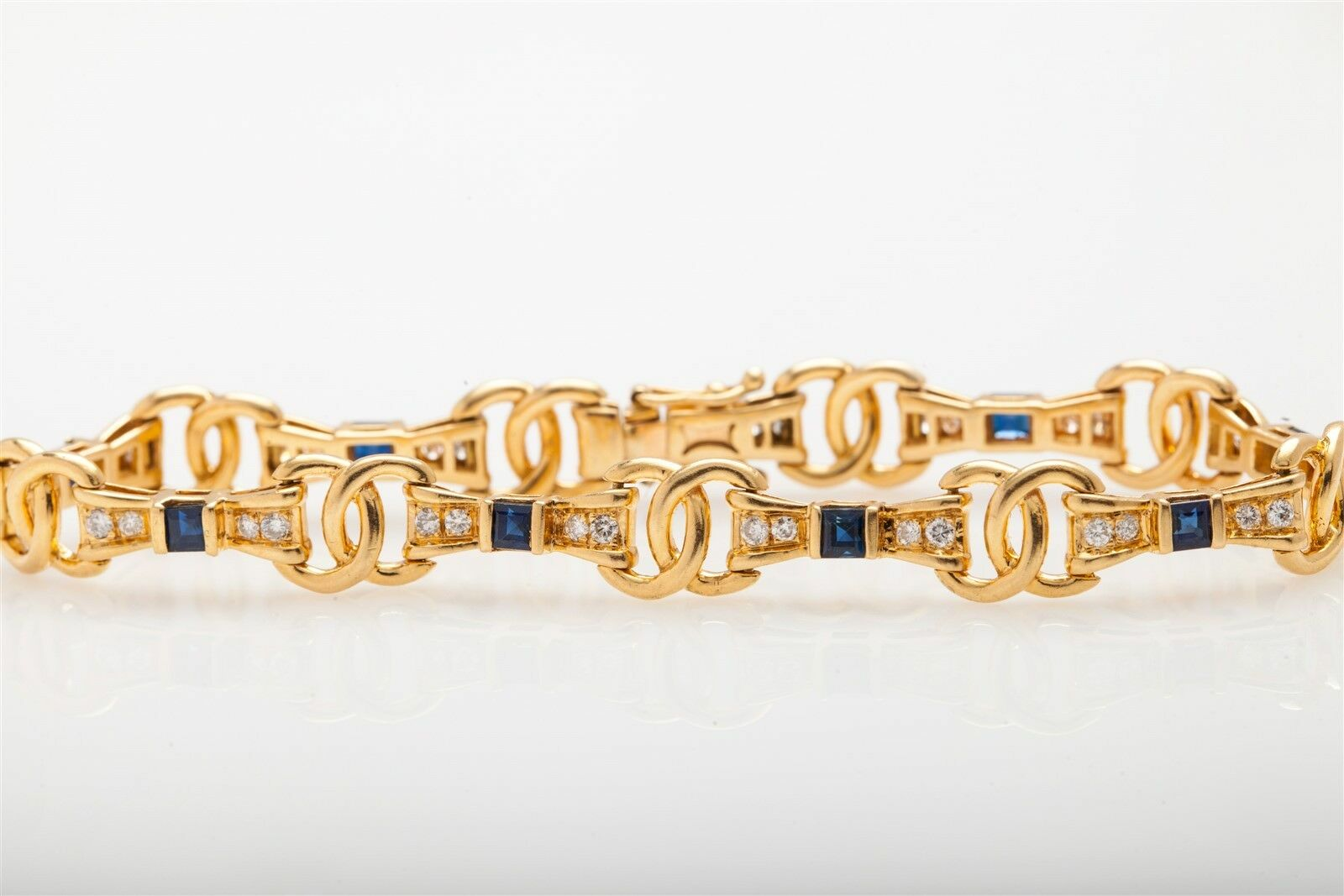 Designer C INITIAL FANCY LINK  7000 3ct bluee Sapphire Diamond 14k gold Bracelet