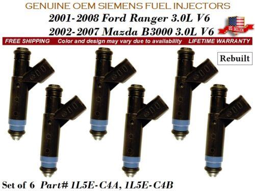 6 Fuel Injectors OEM SIEMENS 2001-2008 Ford Ranger Mazda B3000 3.0L V6 #1L5E-C4A