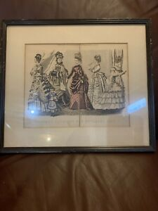 Godey's Fashions For November 1874 Print In Brown Frame VTG