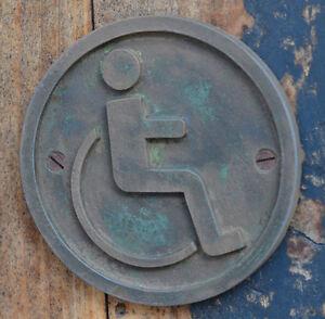 Bathroom Sign Ebay wheelchair, disabled toilet door sign, bronze resin bathroom