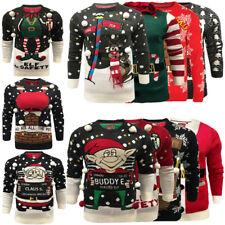 Men Christmas Jumper Crew Neck Sweater Novelty 3D Pullover Santa Elf Brave Soul