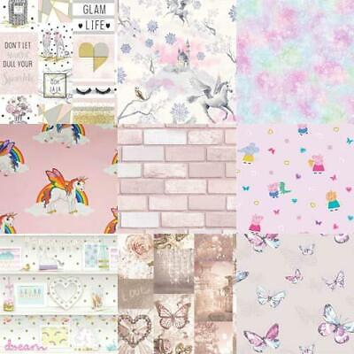 Fairy Polka Dot Butterflies Hearts Girls Wallpaper Designs include Unicorns