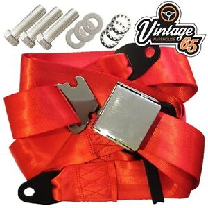 Classic Car Red 3 Point Chrome Buckle Lap Seat Belt Adjustable Front Rear