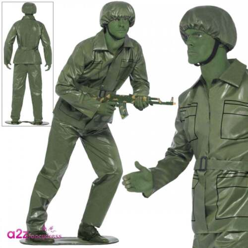 Toy Story Soldier Costume Mens Plastic Army Green Adult Fancy Dress Stag Outfit