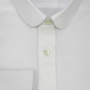 Club Collar Bankers Shirt White Jacquard Texture Gent White Easy