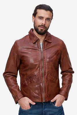 Details zu Pepe Jeans London Lederjacke Herren leger Vintage Stil braun NEU: 279 €