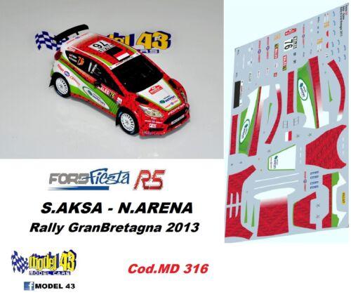 DECAL  1//43 FORD FIESTA R5 AKSA Rally GRAN BRETAGNA 2013