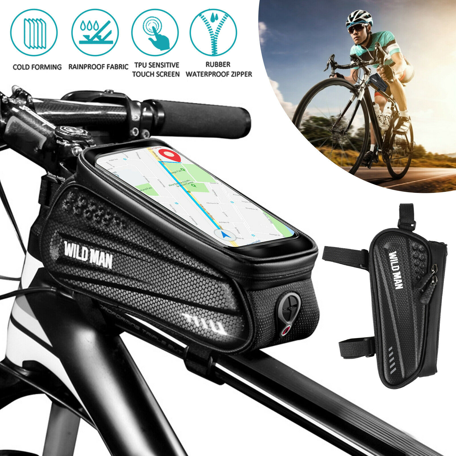 Bicycle Bike Front Tube Frame Bag MTB Waterproof Cell Phone Holder Case 6/""