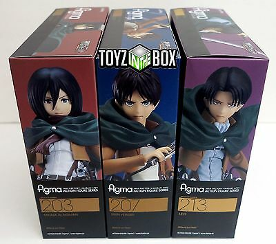 "Figma Attack on Titan ""Mikasa Ackerman + Levi + Eren Yeager"" SET Action Figure"