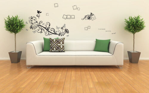 Wall Stickers Mural Decal Paper Art Decoration Black flowers Camera Photo Frame