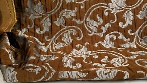 Designer-Brocade-Jacquard-Floral-Fabric-54-wide-sold-by-yard-Chocolate-Blue