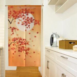 Japanese-Noren-Curtain-Moon-Maple-Leaf-Print-Room-Door-Doorway-Divider-Tapestry