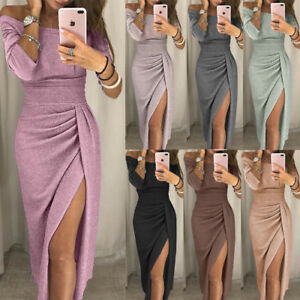 1cd0af299b572 Women Sexy Summer Boho Long Maxi Dress Evening Cocktail Party Split ...