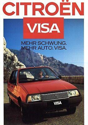 Citroën Visa Prospekt 1986 9/86 Autoprospekt Brochure Citroen Club 11re 14rs Pkw Reisen