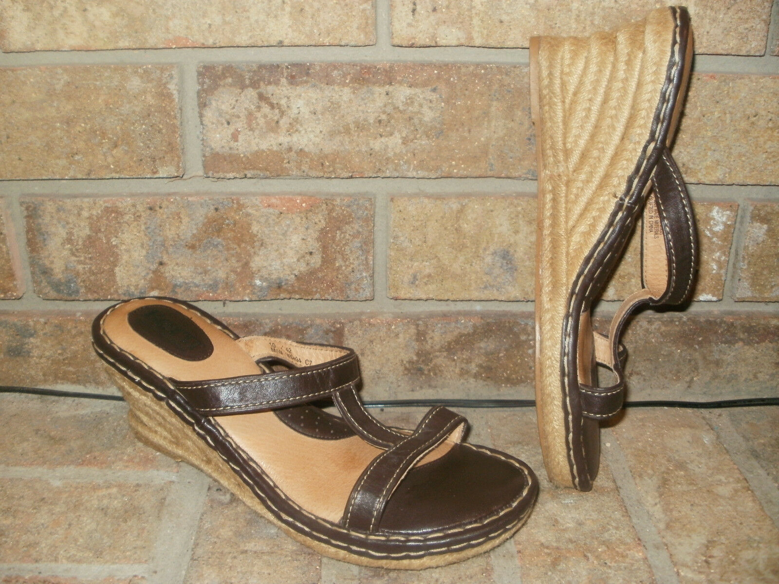 Born W6494 Brown Leather Platform Wedge Espadrilles Sandals Womens 42 US 10 Nice