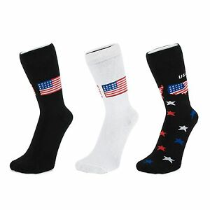 American-Flag-and-Stars-On-Black-Ankle-Socks-Size-4-6