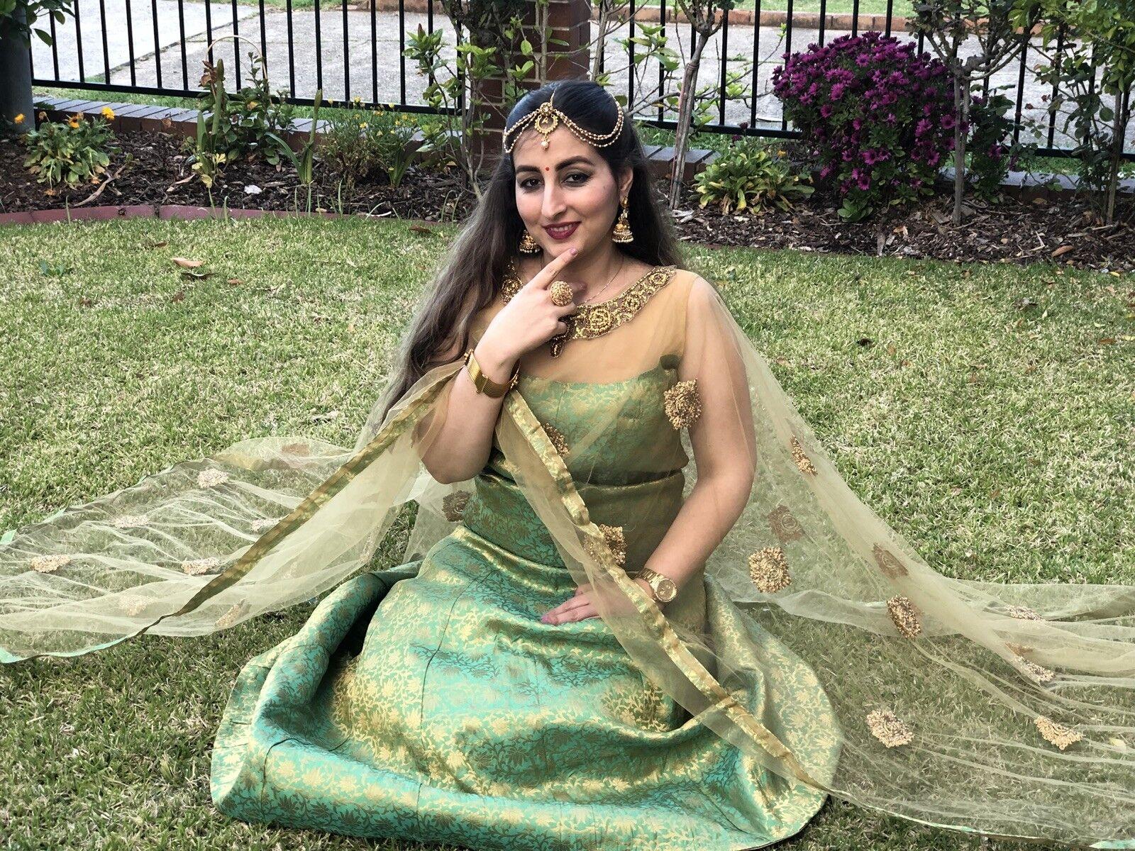 38  S M Poncho Salwar Kameez Bollywood Indian Dress EID Diwali Grün Gold A121