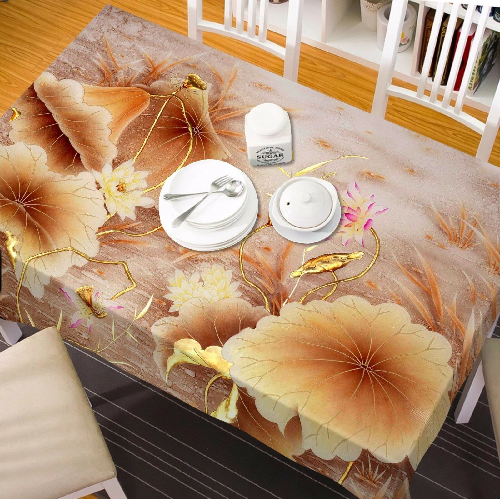 3D Lotus 4365 Tablecloth Table Cover Cloth Birthday Party Event AJ WALLPAPER AU