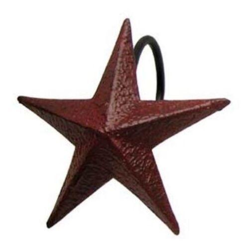 BURGUNDY STAR SHOWER CURTAIN HOOKS Set of 12 Primitive Metal Hooks