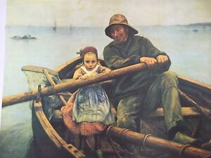 NOS-The-Helping-Hand-CANVAS-LITHOGRAPH-Print-Emile-Renouf-SAILOR-GIRL-16x20-BOAT