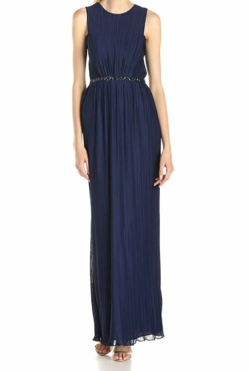 JS Boutique Women's Pleated Front Sleeveless Gown with Beads - Size 8