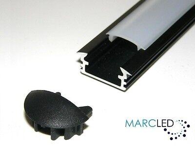 Sistematico P1 A Incasso Alluminio Led Profilo Anodizzato Nero, Opal Cover Calotte 2m (2000 Mm)-mostra Il Titolo Originale Servizio Durevole