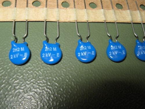 10x HV-Kerko Kondensator 2200pF 2,2nF//2kV 2000 Volt Y5U Vishay HBE222M 2nF2 2n2