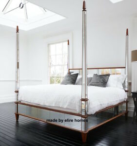 BESPOKE ~ 6\' Super King Size Chatelet® mirrored mahogany wood four ...