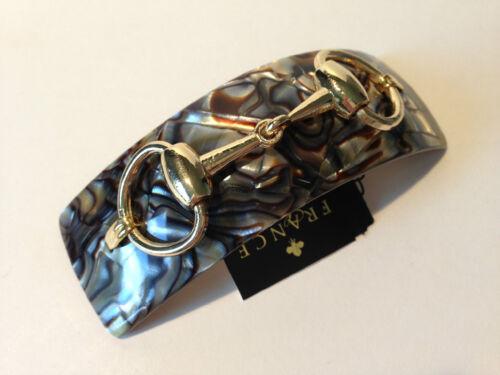 France Luxe Rectangular Volume Barrette Onyx w//Gold Bit Hand made France 118