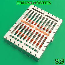 Dental 10 Instruments Sterilization Cassette Tray Racks Orange Turn Lock St 001