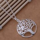 """UK New Silver Plated Round Tree Of Life Pendant Necklace with 18"""" chain (105)"""