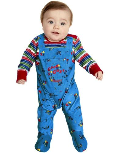 Details about  /Baby Halloween Chucky Fancy Dress Costume Babies All in One Suit by Smiffys