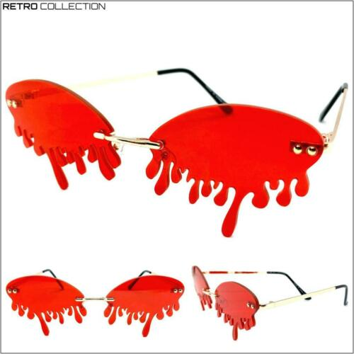 EXAGGERATED Retro PARTY Club Rave SUN GLASSES Funky Teardrop Dripping Red Lens