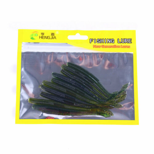 10PCS//Pack Soft Rubber Tail Ice Fishing Lure 10cm//2.3g Fish Worm Bait Jig Bass