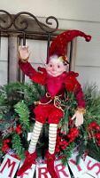 17 Raz Santas Elf Elves Poseable Figurine Christmas Shelf Sitter Ornament A