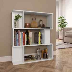 vidaXL-Book-Cabinet-Room-Divider-White-Chipboard-Home-Standing-Shelves-Rack