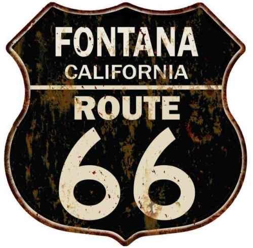 FONTANA CALIFORNIA Route 66 Shield Metal Sign Man Cave Garage 211110014051