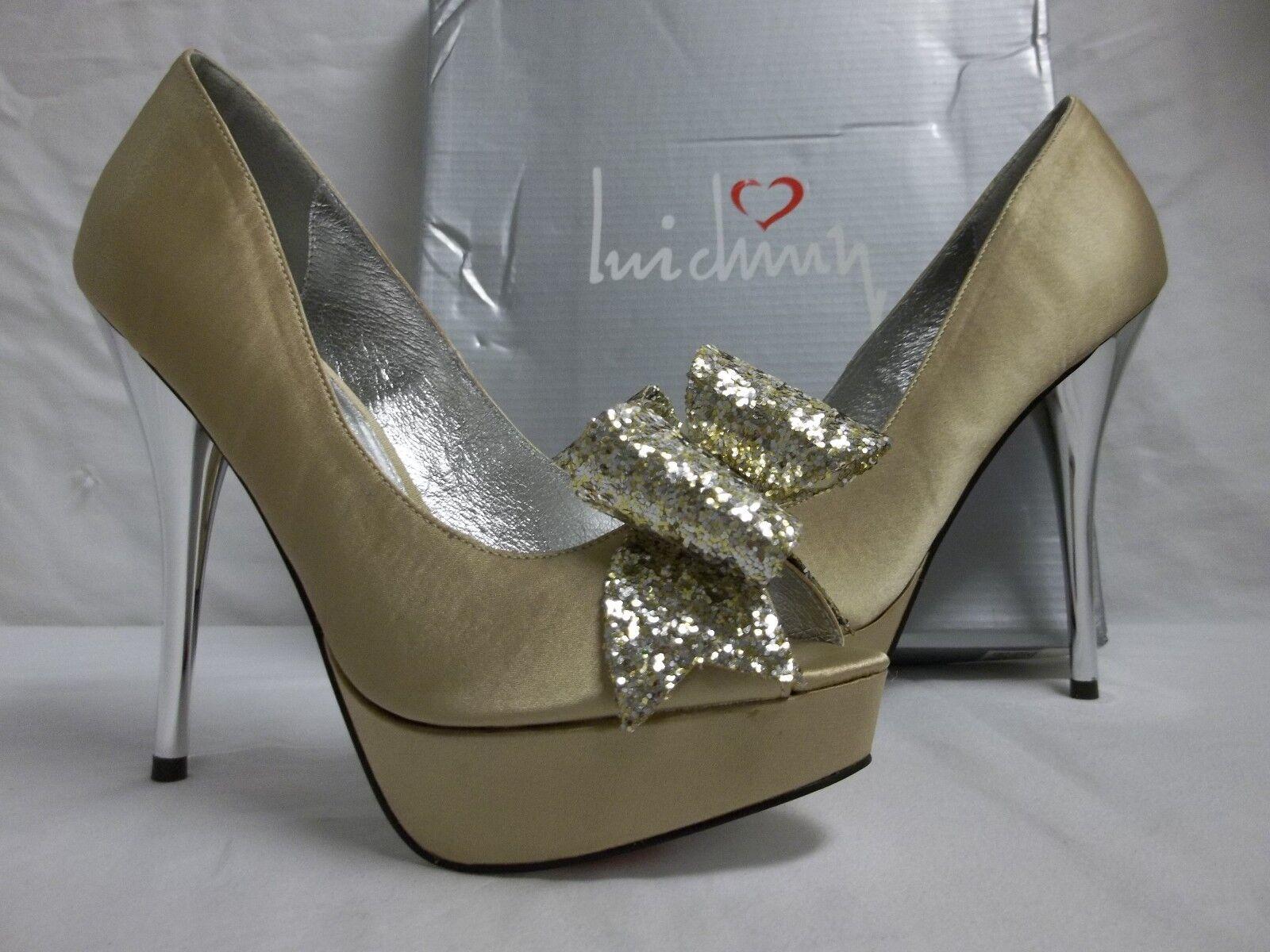Luichiny Größe 8 M Kissy Kiss Beige Satin Open Toe Heels NEU Damenschuhe Schuhes