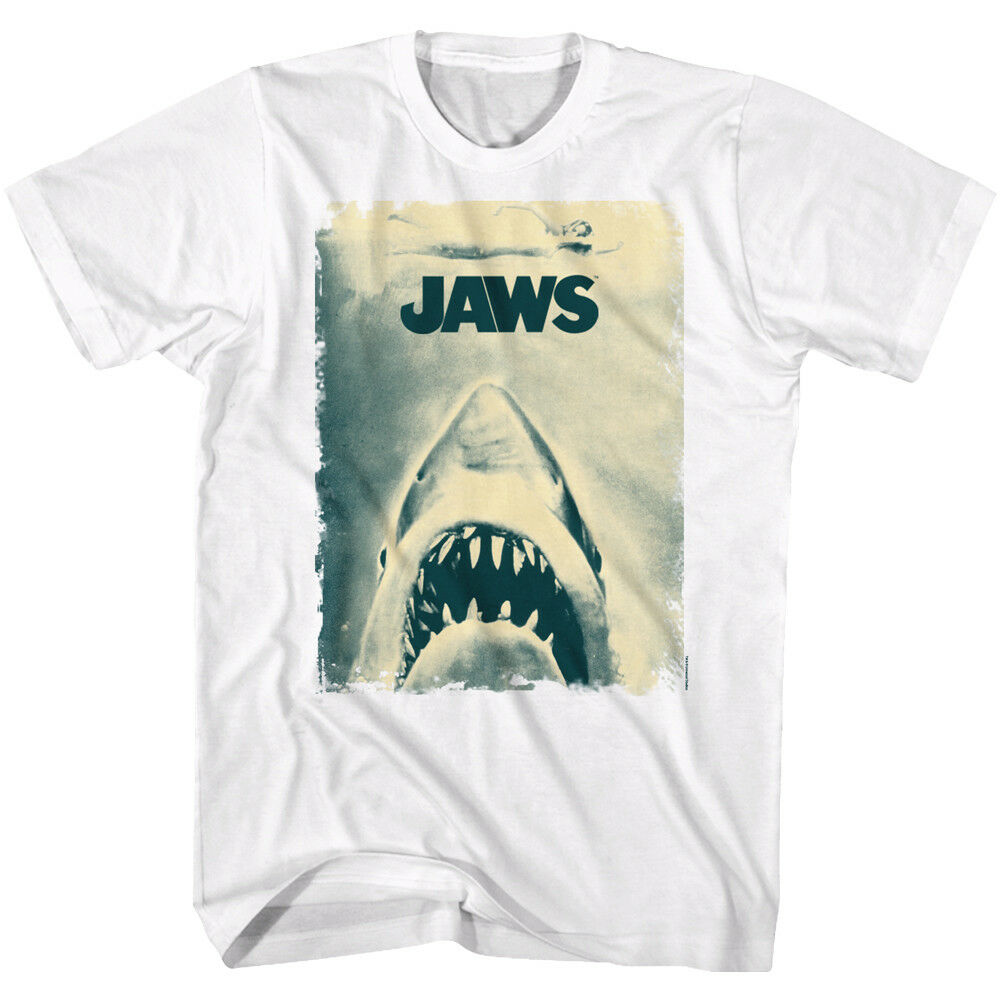 Jaws Mens T-Shirt Movie ANOTHER JAWS POSTER 100% White Cotton New Sizes SM - 5XL